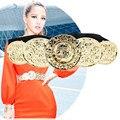 Мода Металла Золота Пряжка Дизайнерские Ремни для Женщин Черный Эластичный Пояс Платья Леди ceinture femme С пояса