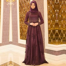 Stunning High Neck Muslim Evening Dress With Long Sleeves hijab A-Line Pearls Lace Appliques Prom Dress formal Evening Gown