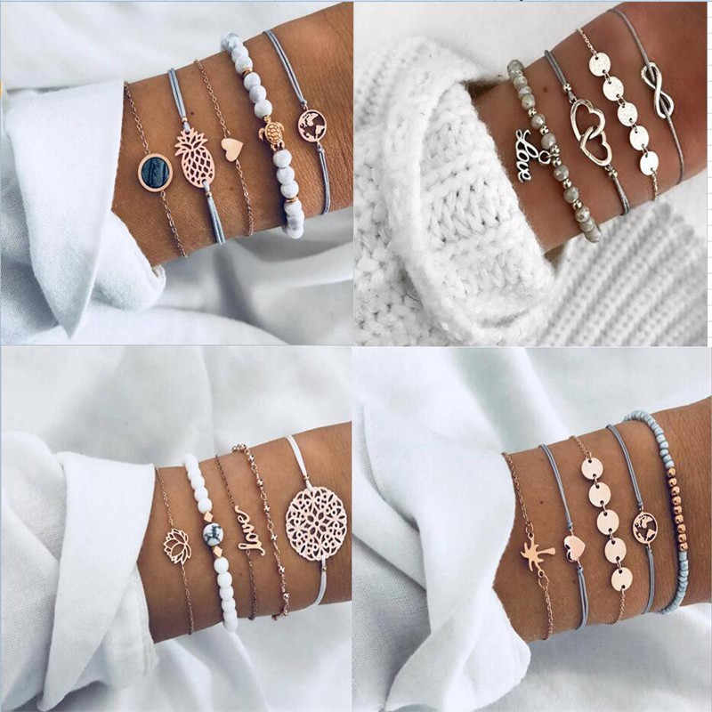 Bohemian Turtle Charm Bracelets Bangles For Women Fashion Gold Color Love Black Pearl Map Strand Bracelets Sets Jewelry Party