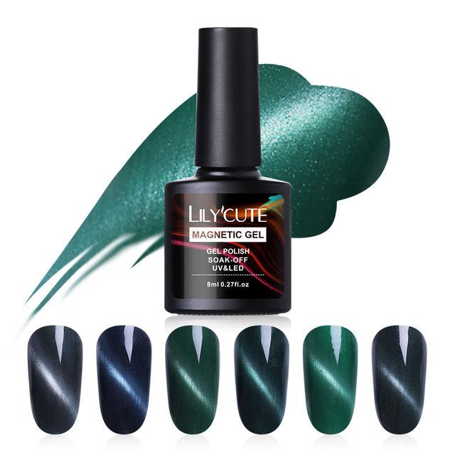 LILYCUTE 8ml Emerald Green Cat Eye Soak Off UV Gel