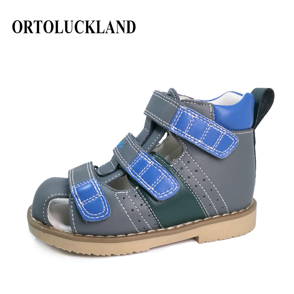 Closed toe baby boy genuine leather sandal shoes children orthopedic footwear for kids toddler leather sandal