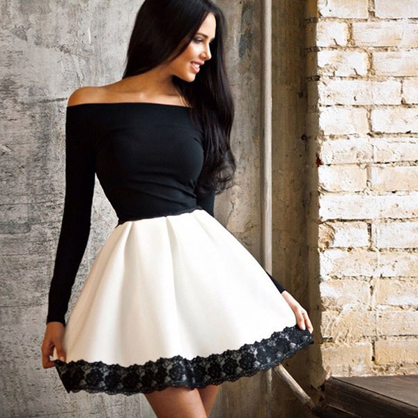 242a2a799549 Women Winter Dress 2015 New Arrival Long Sleeve Off Shoulder Sexy Vintage  Patchwork White Black Lace dress-in Dresses from Women s Clothing on ...