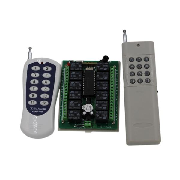 DC12V 24V 12CH 12CH RF Wireless Remote Control Switch System 2X Transmitters + Receiver 315/433.92MHZ Jog Self-lock Inter-lock 24v 4 channel rf wireless remote switch control light switch system 4 ch receiver 2 transmitters in 433 92mhz