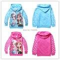 Y E-babe y venta al por mayor nueva F rozen bebé Girls Elsa Anna princesa de dibujos animados con capucha chaqueta de cremallera ocasional niños Outwear abrigo envío gratuito
