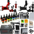 Professional Tattoo Kit 14 color Ink Power Supply 2 Machine Guns
