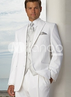 Nice Popular White Groom Tuxedos Groomsman Costume Business Suits Prom Suits (Jacket+Pants+Vest+Tie) NO:092