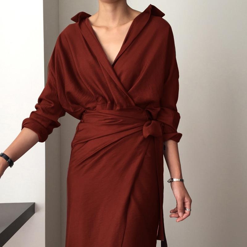 CHICEVER Bow Bandage Dresses For Women V Neck Long Sleeve High Waist Women's Dress Female Elegant Fashion Clothing New 19 24