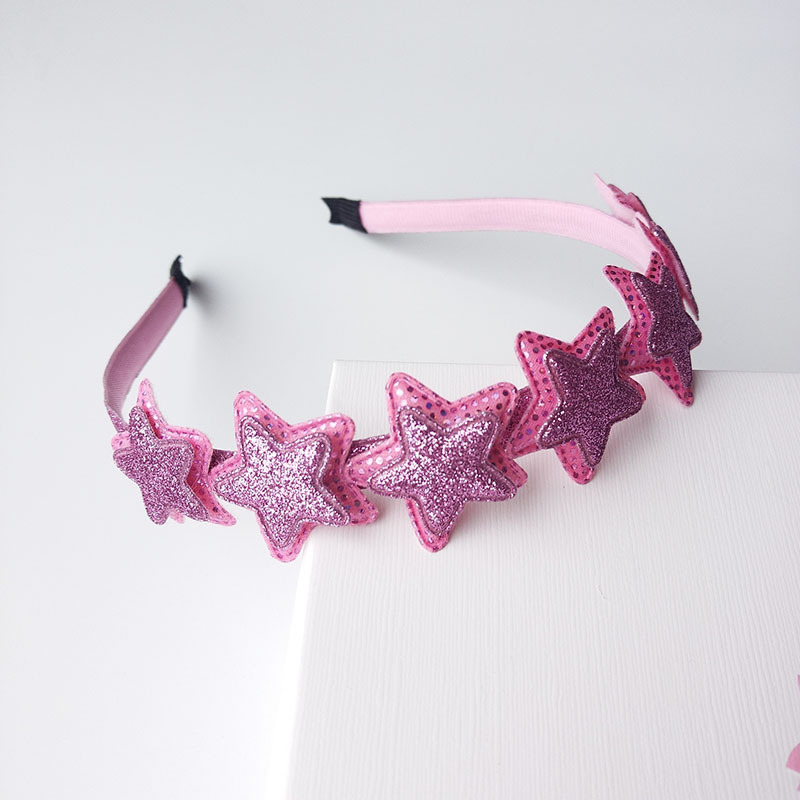 Shimmer Powder Pink Pointed Star Hair Hoop Boutique Baby Hairbands Princess   Headwear   Girls Hair Accessories Children Headbands