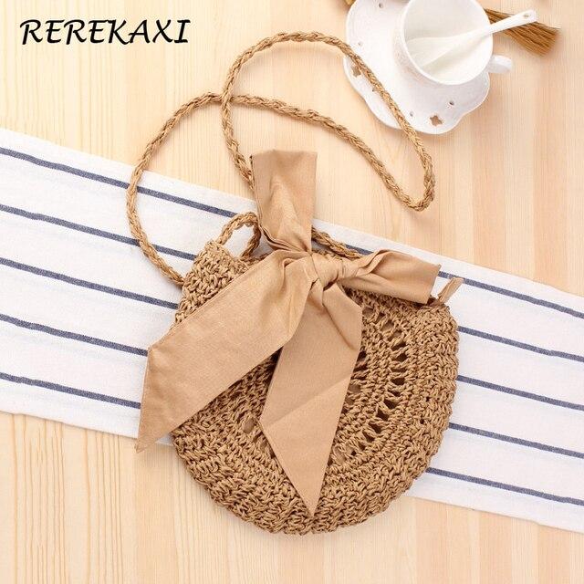 REREKAXI New Bow Women's Shoulder Bag Handmade Round Straw Bags Woven Bohemian Summer Beach Bag Female Messenger Crossbody Bags