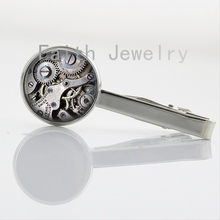 Hot sale steam punk Clock Image tie clips elegant beautiful nature insect Butterfly Dragonfly Watch art Picture tie bar NS053