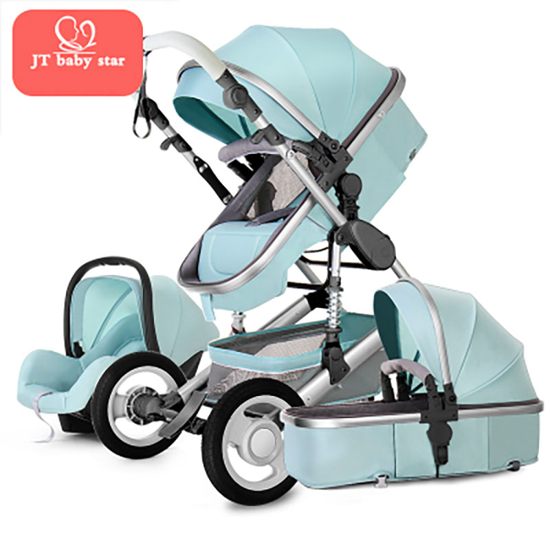 HK Free Golden baby brand high landscape stroller seated folding 0-3 years old portable newborn BB cart 3 in 1 baby stroller fashion superweight baby stroller portable high landscape soft baby pram cart aluminum shockproof 3 in 1 folding strollers