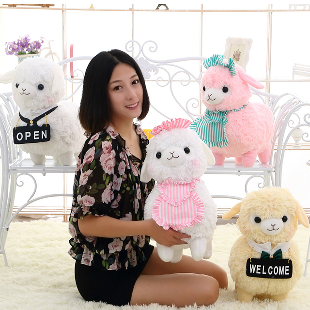 1pcs 45 Cm Sheep Cushion Pillow Stuffed Dolls Pink White Little Sheep Toys by Pernycess