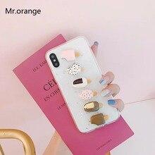 Чехол для телефона для iphone X для iphone 8 7 6 6s плюс забавная 3D Еда сладкий ветер мороженое гель блеск свежий летние прозрачные