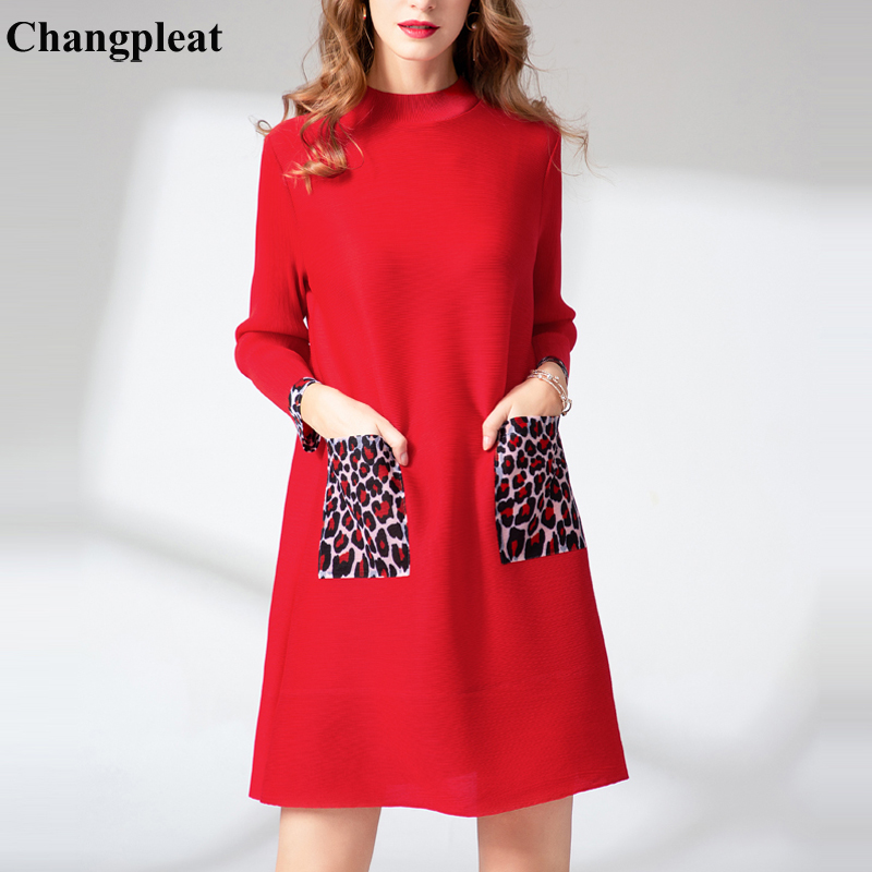 Changpleat 2019 Spring New Loose Women DressMiyak Pleated Fashion Leopard print Pocket Large Size Female Mini Dresses Tide D9089-in Dresses from Women's Clothing    1