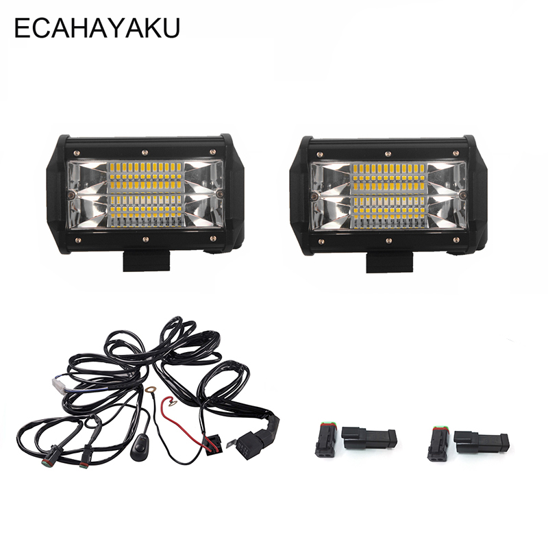 ECAHAYAKU DUAL 5INCH LED WORK LIGHT BAR 72W FLOOD BEAM LED BAR LIGHT FOR CAR TRUCKS SUV BOAT ATV 4X4 4WD TRAILER OFFRORD 12V 24V