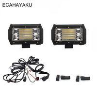 ECAHAYAKU 5INCH 72W LED WORK LIGHT BAR FLOOD BEAM LED BAR LIGHT 12V 24V FOR CAR