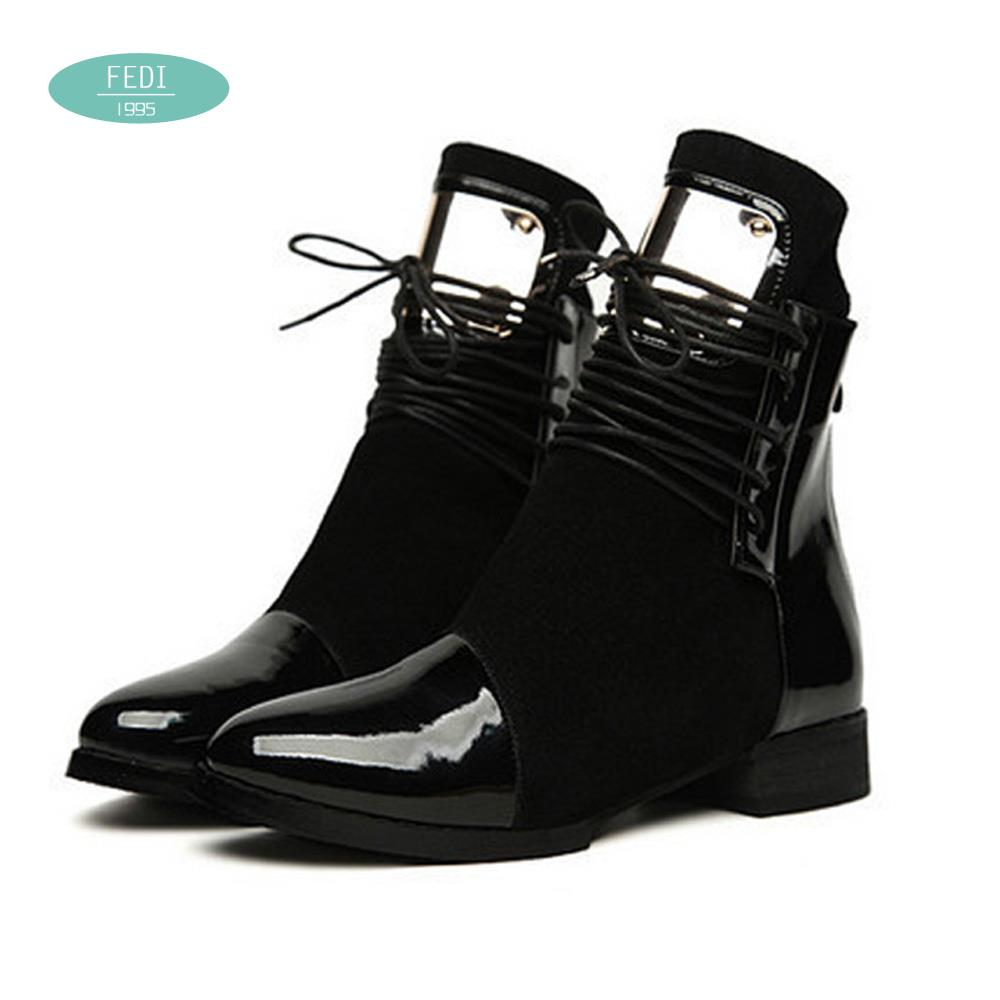 35 43 Women Boots Genuine Leather Flat Martin Ankle Boots Womens Motorcycle Boots Autumn Shoes Women