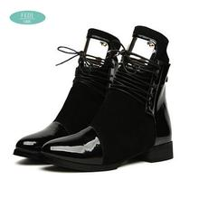 35-43 Women Boots Genuine Leather Flat Martin Ankle Boots Womens Motorcycle Boots Autumn Shoes Women Winter Patent leather Botas