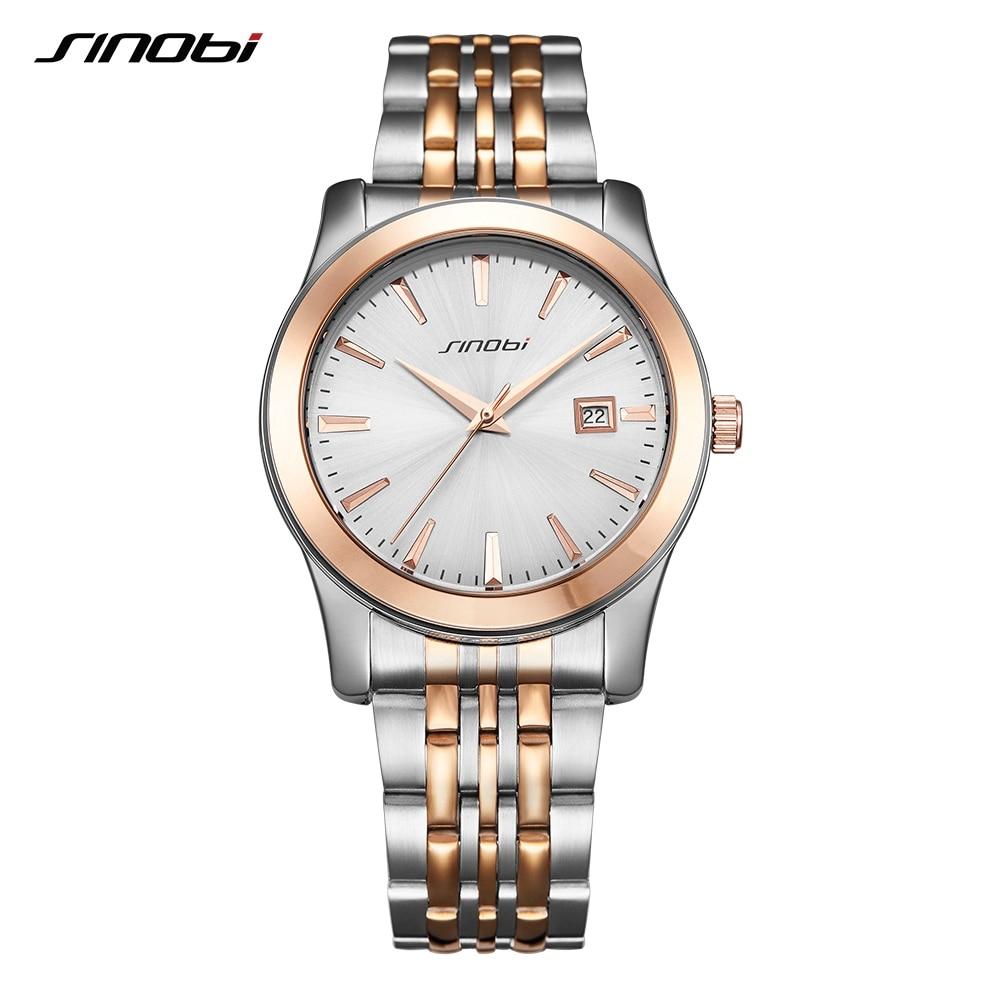 Marca De Luxo SINOBI Homens Relógios Desportivos Data Negócio Relógio de Pulso Banda de Aço Inoxidável Para Homens Relógio de Ouro Amantes Das Mulheres Assistir 2017