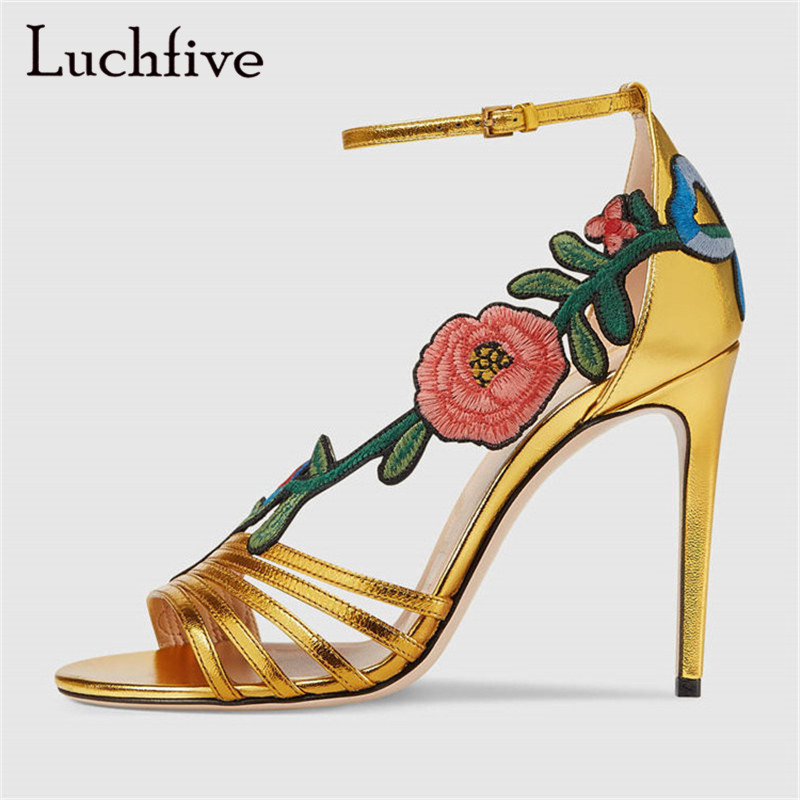 Sexy Gladiator Sandals Women Thin High Heels narrow band gold balck embroidery flowers summer runway Shoes Zapatos Mujer