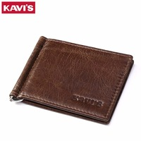 KAVIS Slim Brand Men Women Genuine Cow Leather Bifold Male Purse Billfold Wallet Money Clip High