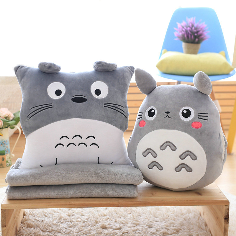 3 In 1 Multifunction Totoro Plush Throw Pillow With Blanket Totoro Hand Warm Cushion Baby Kids Nap Blanket Anime Figure Toy