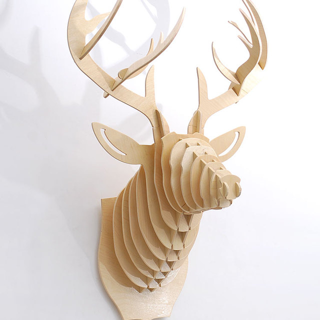 J E High End 25 1 Height Deer Head Wall Decor Wood Craft Self Build