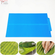 small 39*25CM and large 43*33CM Silicone Food-grade Big Square Durable Cheap Dish Drying table Mat Heat Resistant dishes Pad цена и фото