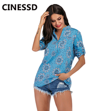 CINESSD V Neck Women Print Casual Blouse Blue Long Sleeves Pullover Tunic Tops Loose Button Pocket Tee Shirts Office Lady