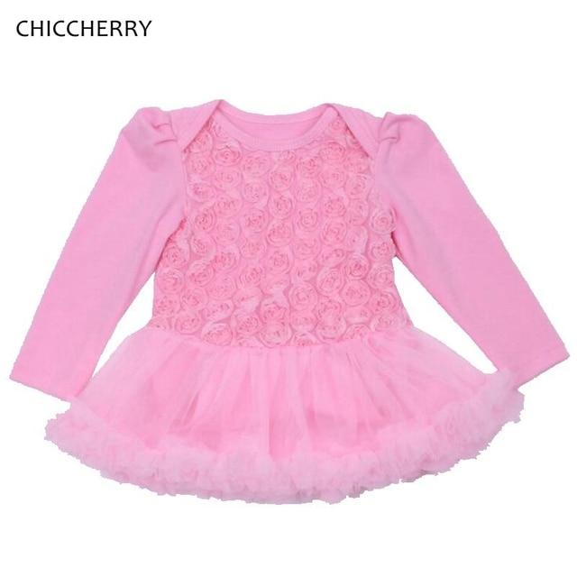 750afeb9c0574 Pink Baby 1st Birthday Dress Long Sleeves Infant Lace Romper Tutus Rose  Wedding Dresses Vetement Fille