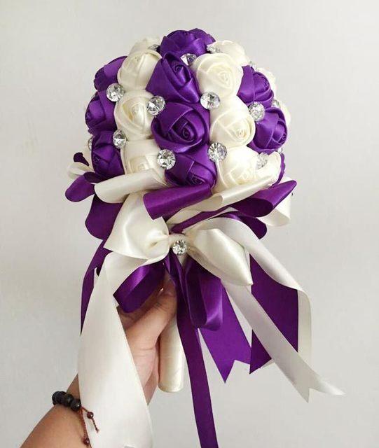 Фиолетовый Горный Хрусталь Свадебная Искусственный Невесты Свадебные Букеты Рамо Novia Свадебные Цветы Аксессуары