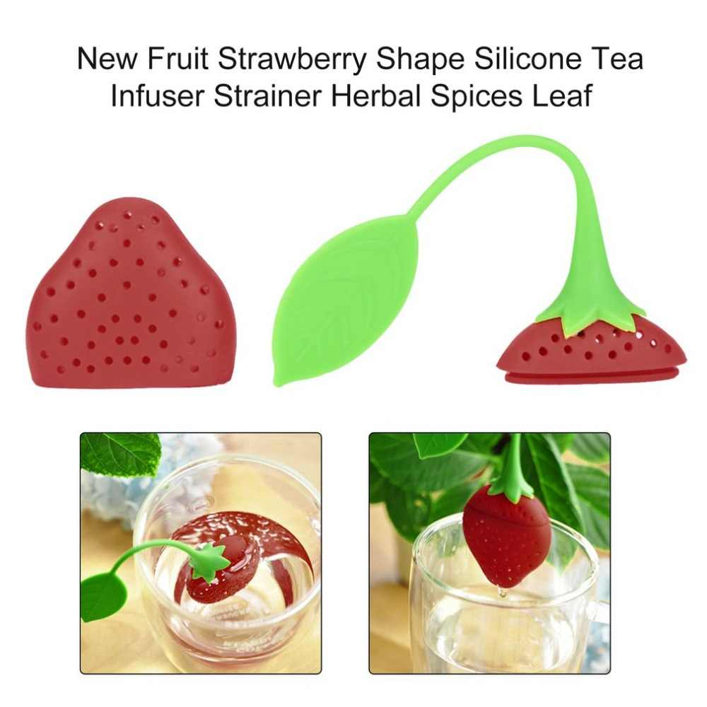 Lovely Reuseable Foof safe Silicone Red Strawberry Shape Tea Leaf Bag Holder Tea Coffee Punch Filter Tea Infuser Drop shipping
