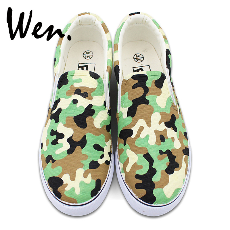 Wen Design Army Camouflage Pattern Pure Hand Painted Shoes for Man Woman Slip on Flats Canvas Sneakers