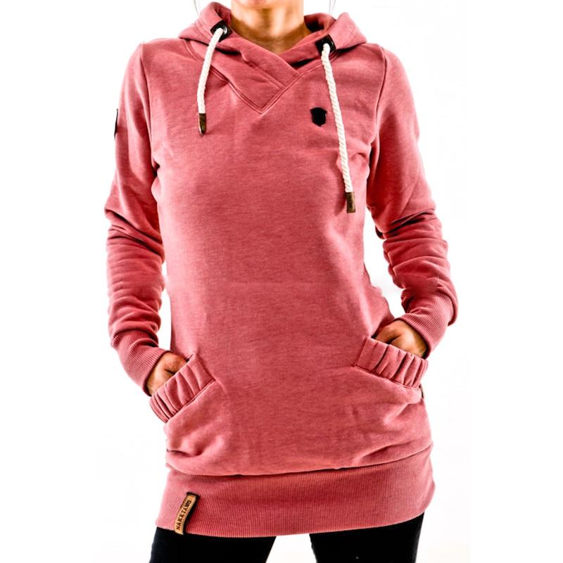 cff5d8ae Winter Autumn Sportswear Cowl Neck Drawstring Hooded Sweatshirt ...