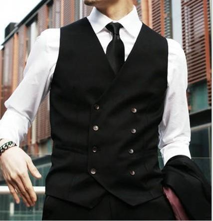 Brand New Groom Vests Black Groomsmens/Best Man Vest Custom Made Size and Color Double-Breasted Wedding/Prom/Dinner Waistcoat