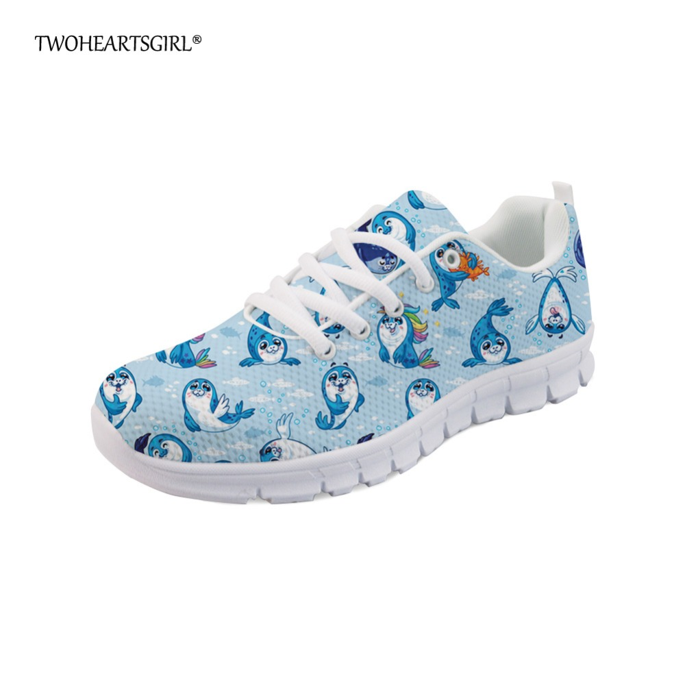 Twoheartsgirl Ocean Style Seal Print Mesh Shoes for Women Cute Female Ladies Lace Up Flats Personalized Women Sneakers Plus