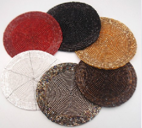 Well known High quality handmade beaded placemats round white red black gold  HV89