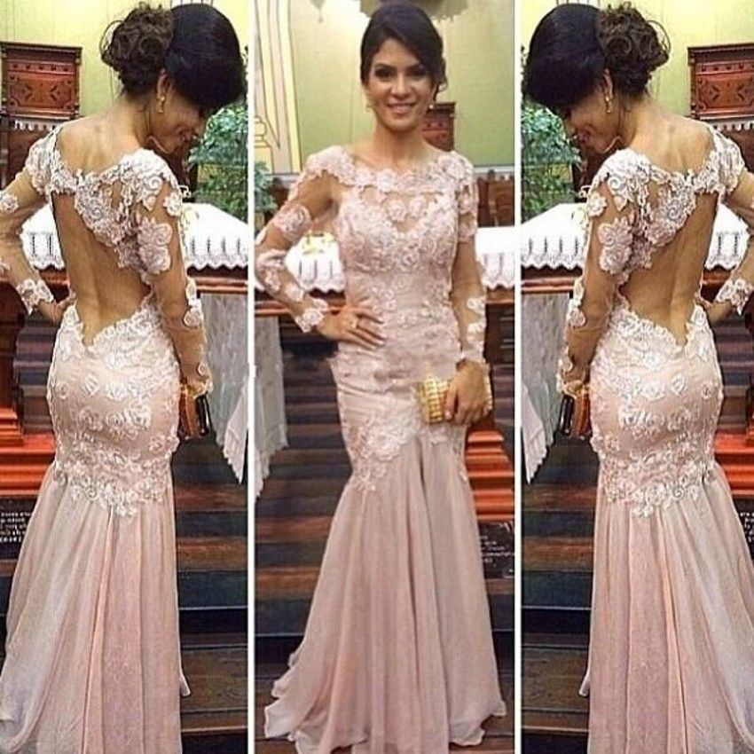 3018372e2f Sexy applique pink Mermaid evening gown with Long Sleeve Lace Formal  Occasion Dress Open Back long Evening dress prom gown