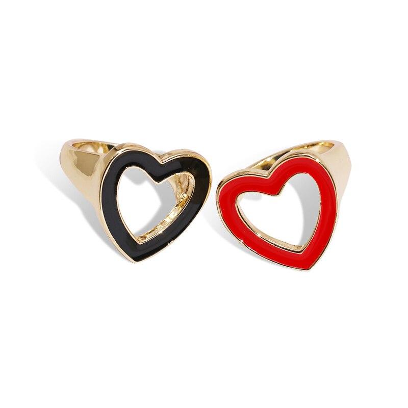 Vintage Fashion Glazed Drip Oil Micro Zircon Love Heart Stud Earrings For Women Best Gift