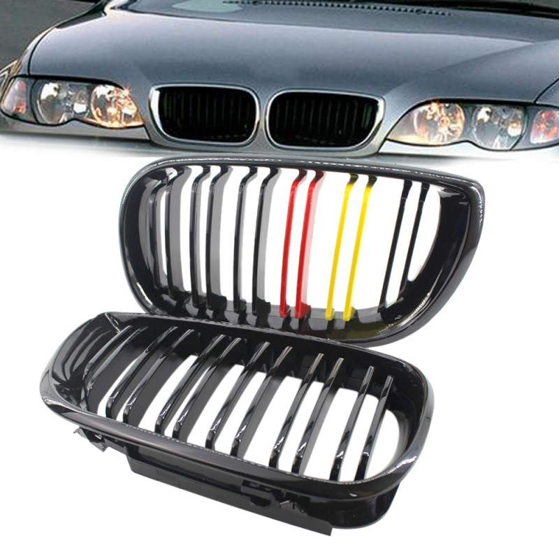 2PCS Auto ABS Plastic 4D LCI Facelift Gloss Black Red Yellow Pair Front Kidney Grille Grill