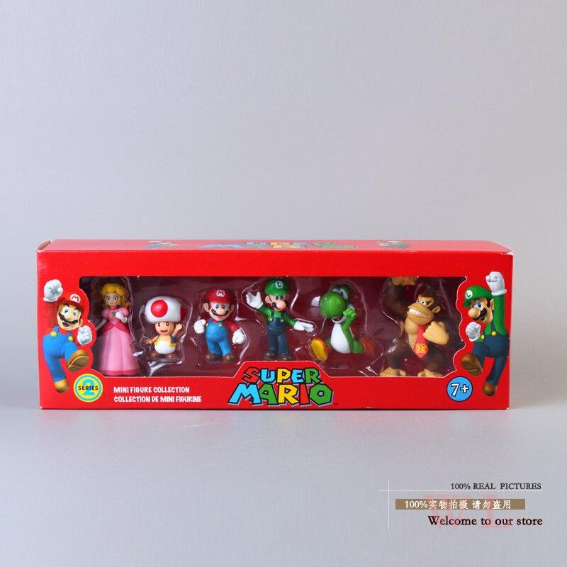 Free Shipping Super <font><b>Mario</b></font> Bros Peach Toad <font><b>Mario</b></font> <font><b>Luigi</b></font> Yoshi Donkey Kong <font><b>PVC</b></font> <font><b>Action</b></font> <font><b>Figure</b></font> Toys Dolls 6pcs/set New in Box SMFG218