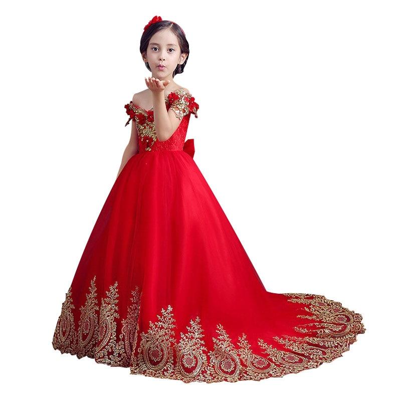 db5e781ea4 Hermoso barco cuello de encaje rojo Vestidos de Niña en Vestidos de flores de  niña de Bodas y eventos en AliExpress.com