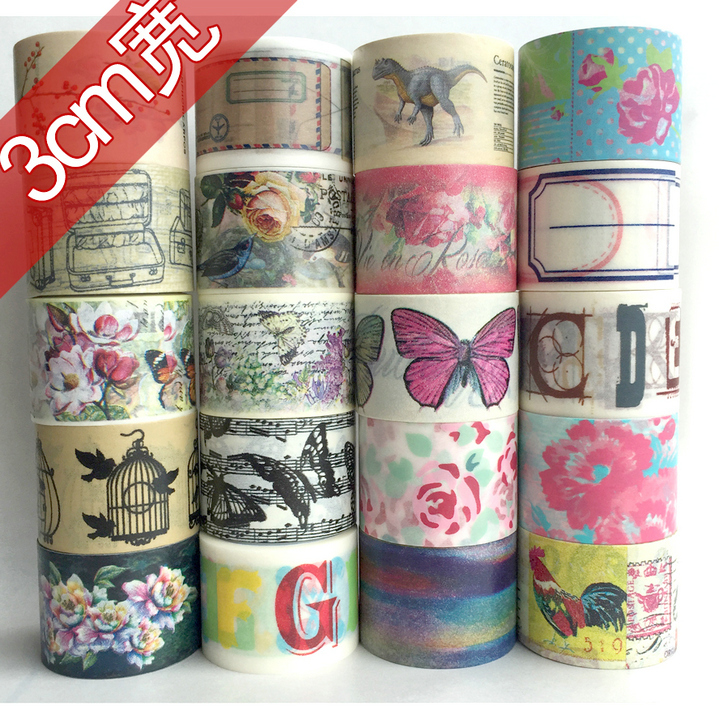 23 Designs (Accept Select Design) 30mm Japanese Washi Decorative Adhesive tape multicolour Flower Heart Dot Stripe Paper Tape