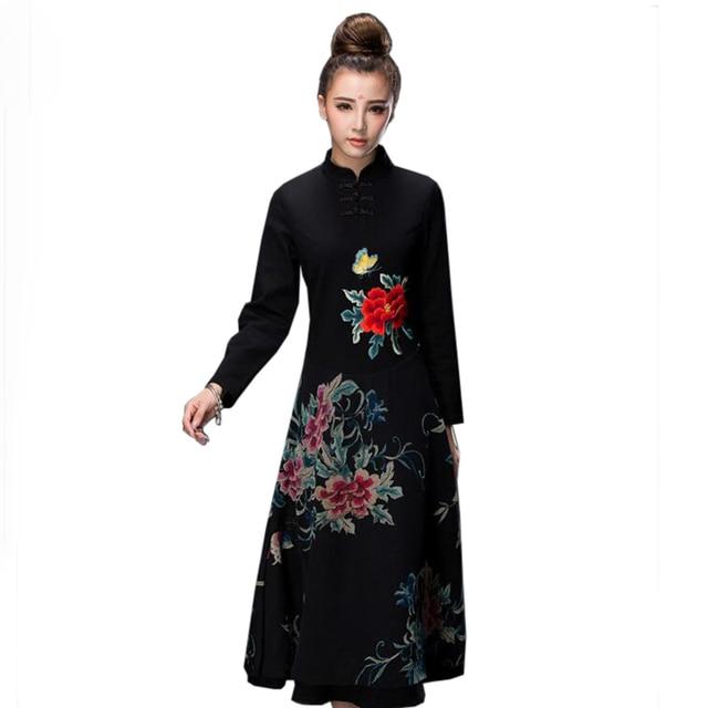 Black Lady Embroidery Cotton Chinese Dress Autumn Winter Long Modern  Cheongsam Flower A-Linen Handmade Button Qipao L-XXL fcfbde68a