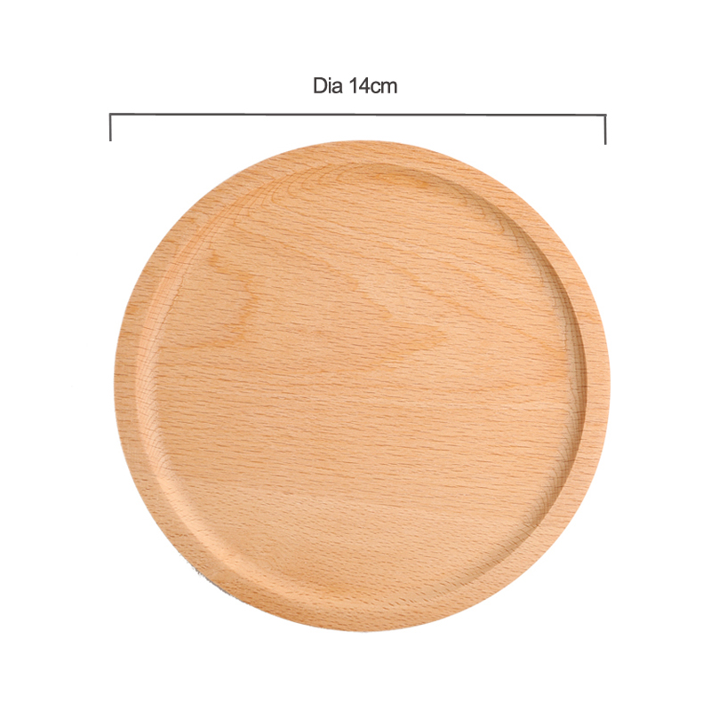 Dia 14cm Mini Cake Snack Fruit Tray Wood Round Wooden Plate Small Serving Trays Mug Coaster Tableware Wooden Utensils Household Gifts (12)