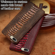 TZ06 Ostrich foot pattern genuine leather half case for Xiaomi Mi MAX 3(7.0') phone case for Xiaomi Mi MAX 3 back case luanke crocodile grain phone back case for xiaomi mi max 3