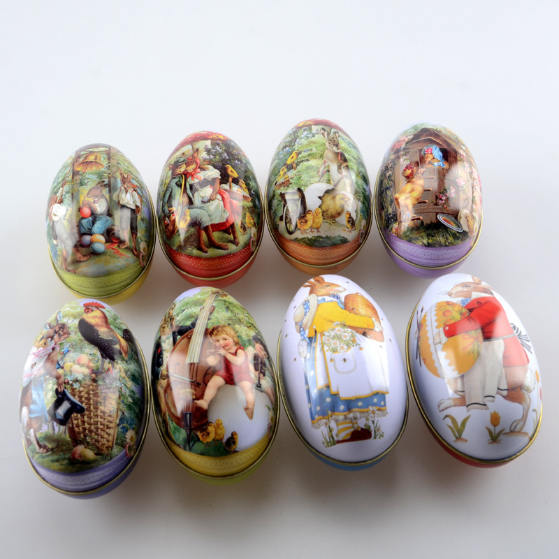 400pcs Festival Supply The New Easter Egg Shaped Candy Tin Packaging Box Creative Wedding Birthday Childrens Day Rabbit Pattern