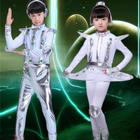 Kids Robot Costume White Silver Astronaut Performance Space Stage Dance Show Time Clothing Unisex Dance Clothes Boy or Girl