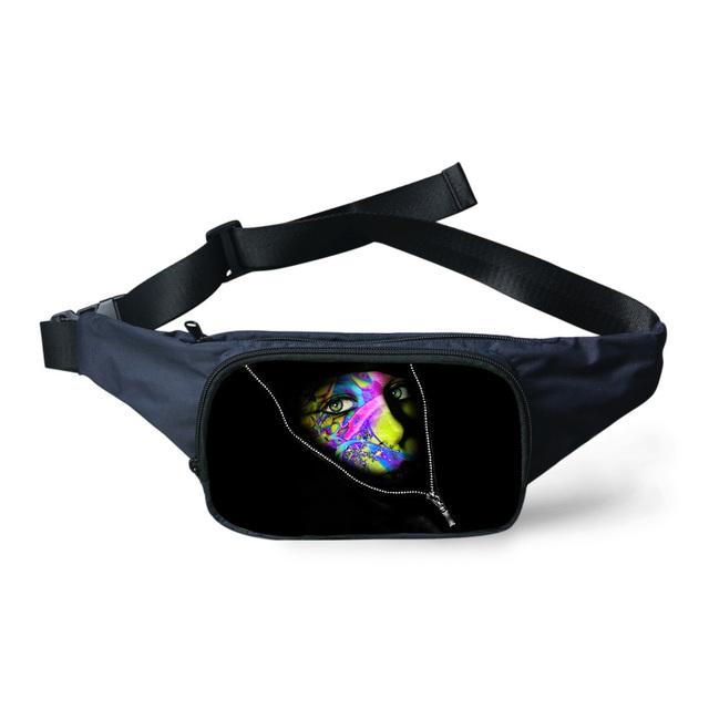Unisex Adolescente Niñas de Impresión Monstruo Negro Cinturón Paquete de La Cintura para Las Mujeres A Prueba de agua Bolsa de Viaje Mujer Fanny Bolso de La Cintura