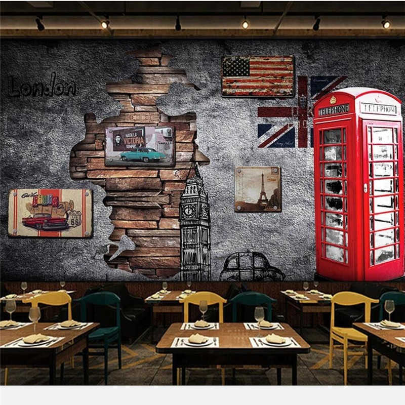 b50f7d9b3ff beibehang Custom wallpaper 3d mural Europe and the United States retro nostalgia  London telephone booth coffee